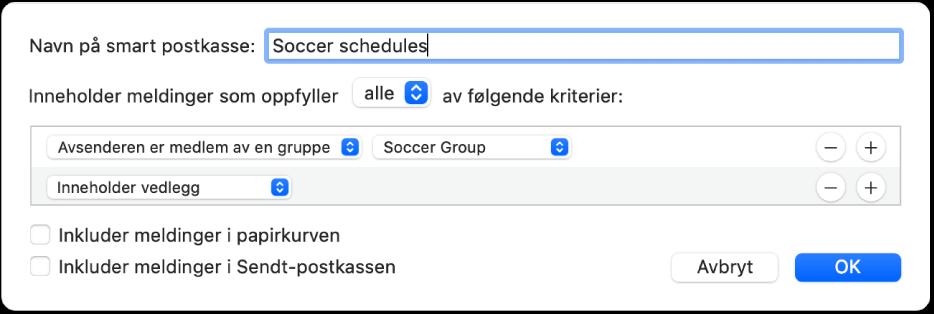 Smart gruppe-vinduet, som viser kriterier for en gruppe som heter «Fotballgruppen». Gruppen har to betingelser. Den første betingelsen har to kriterier, vist fra venstre mot høyre: «Avsenderen er medlem av en gruppe» (markert i en lokalmeny) og Fotballgruppe (markert i en lokalmeny). Den andre betingelsen har ett kriterium: «Inneholder vedlegg» (markert i en lokalmeny).
