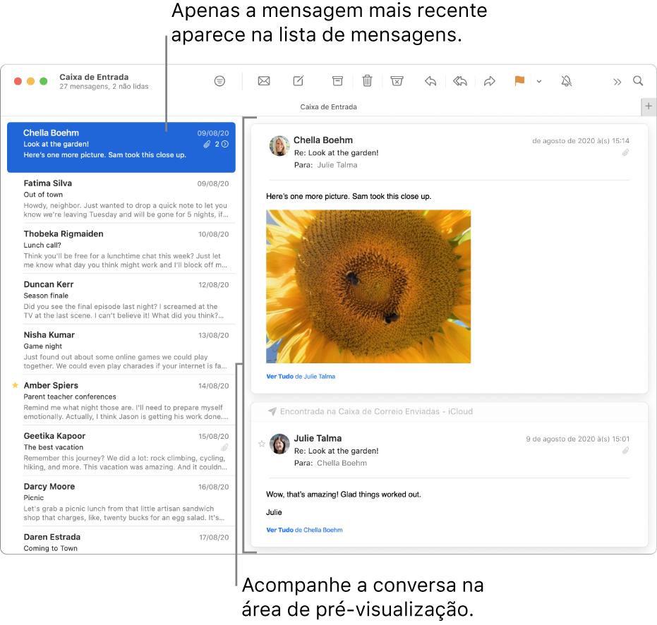 Apenas a mensagem mais recente de uma conversa é exibida na lista de mensagens. Um número na primeira mensagem indica quantas mensagens da conversa estão na caixa de correio atual. Siga a conversa na área de pré-visualização.