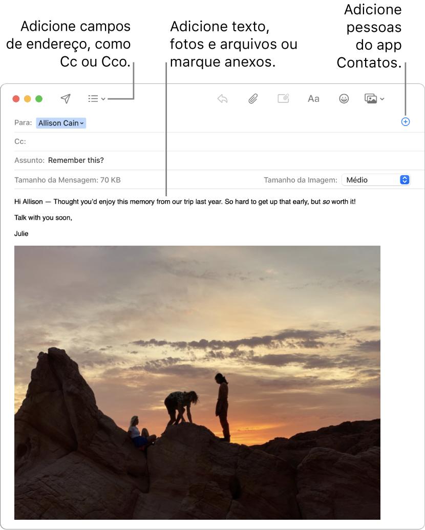 Uma nova janela de mensagem indicando o botão Campos do Cabeçalho, o botão Adicionar em um campo de endereço para adicionar pessoas de Contatos e uma imagem marcada no corpo da mensagem.