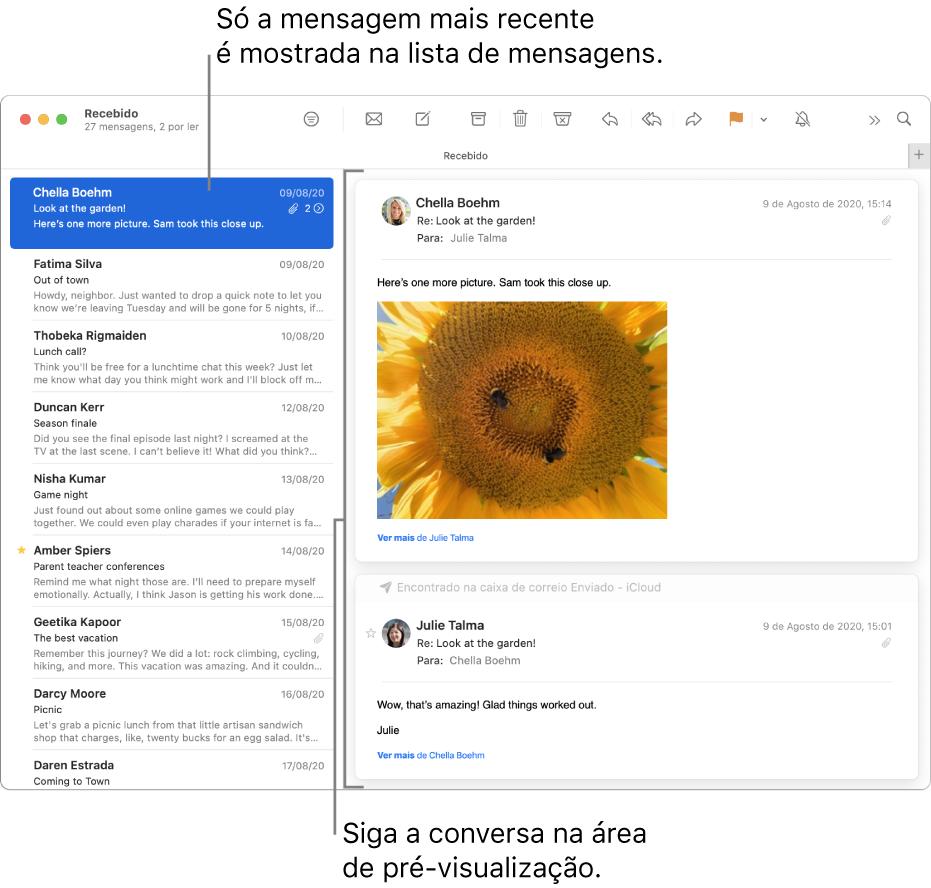 Apenas a mensagem mais recente de uma conversa é apresentada na lista de mensagens. O número na mensagem que se encontra no topo indica quantas mensagens da conversa estão na caixa de correio atual. Siga a conversa na área de pré-visualização.