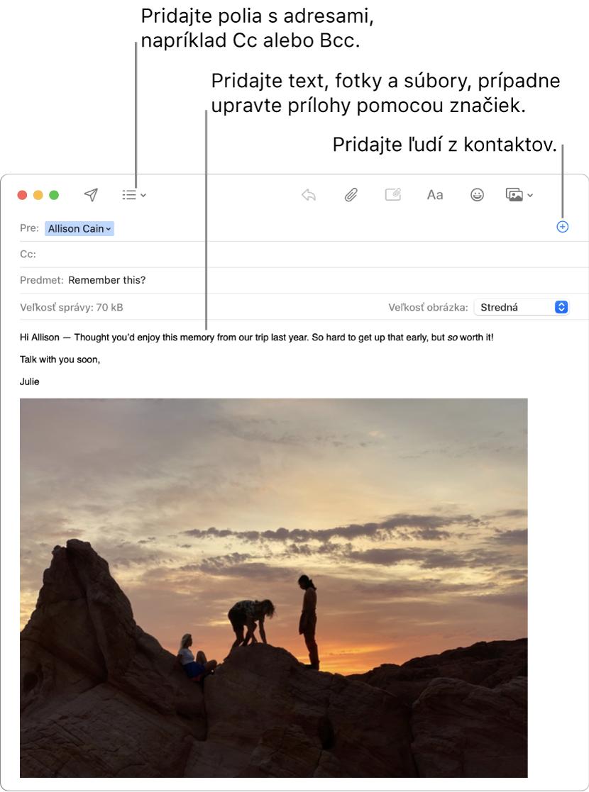 Okno novej správy so zobrazeným tlačidlom Polia zhlavičky, tlačidlom Pridať vpoli pre adresu na pridávanie ľudí zKontaktov aobrázkom so značkami vtele správy.