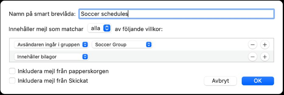 """Fönstret Smart grupp med villkor för en grupp som heter Fotbollsplanering. Gruppen har två villkor. Det första villkoret har två delvillkor, från vänster till höger: """"Användaren ingår i gruppen"""" (markerat i popupmenyn) och Fotbollsgrupp (markerat i en popupmeny). Det andra villkoret har ett delvillkor: """"Innehåller bilagor"""" (markerat i en popupmeny)."""