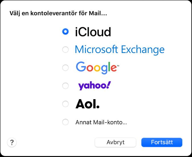 Dialogrutan för att välja en e-postkontotyp med iCloud, Exchange, Google, Yahoo, AOL och Annat Mail-konto.