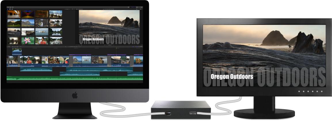 Inhalte des Viewers auf einem externen Monitor, der über Hardware eines Drittanbieters verbunden ist