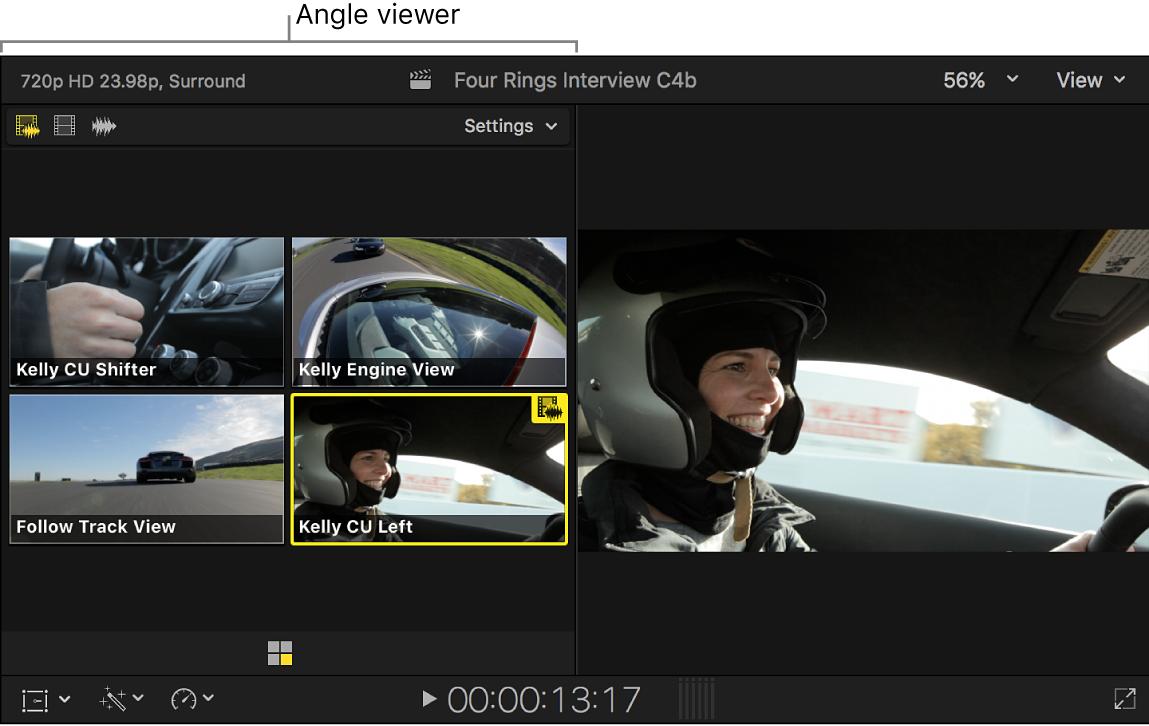 Der Kamera-Viewer mit gelb hervorgehobener aktiver Kamera