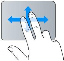 Geste für Streichen mit zwei Fingern