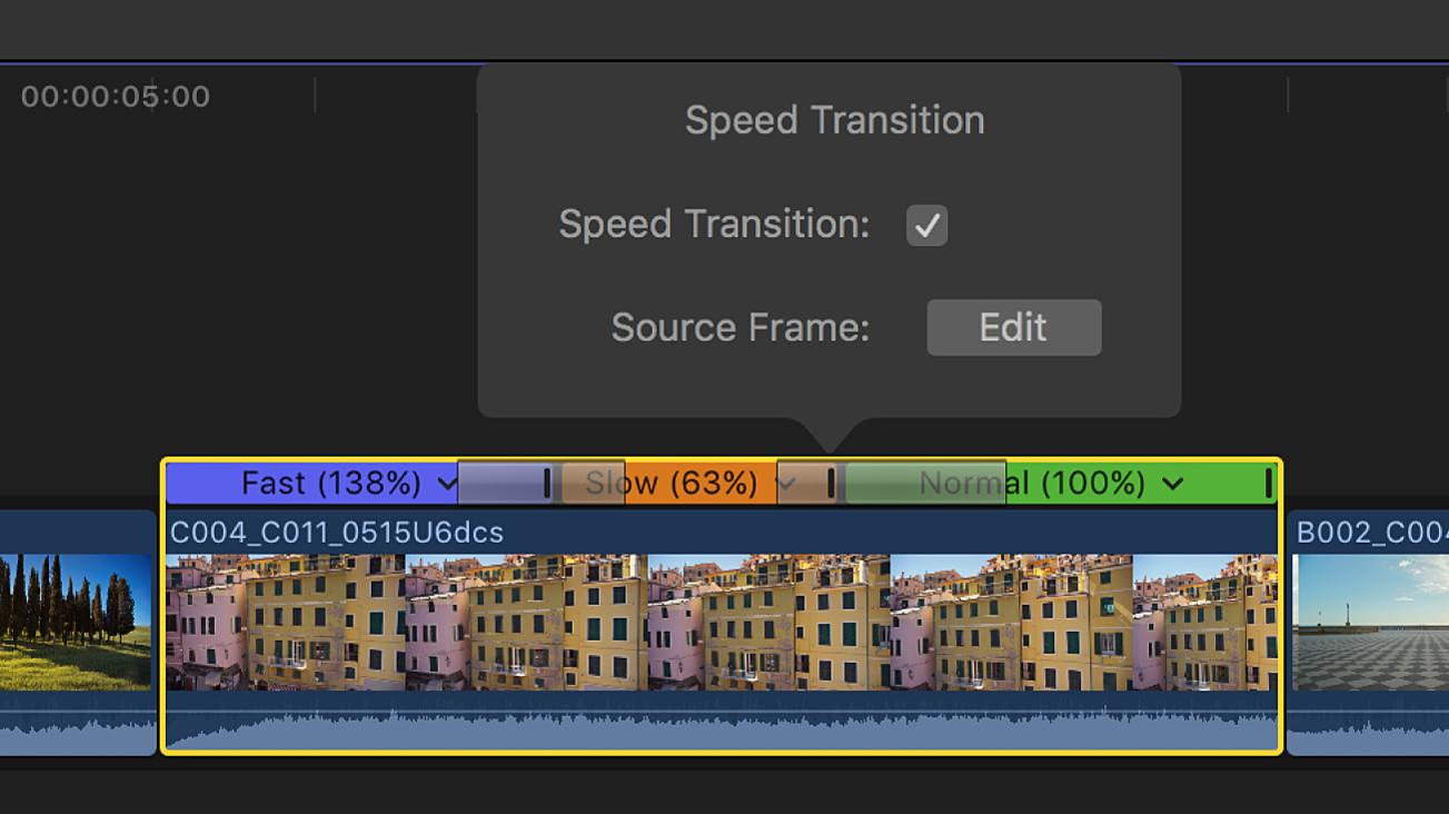 """Die Timeline mit dem Fenster für den Übergang """"Tempo"""" über einem Übergang zwischen Temposegmenten"""