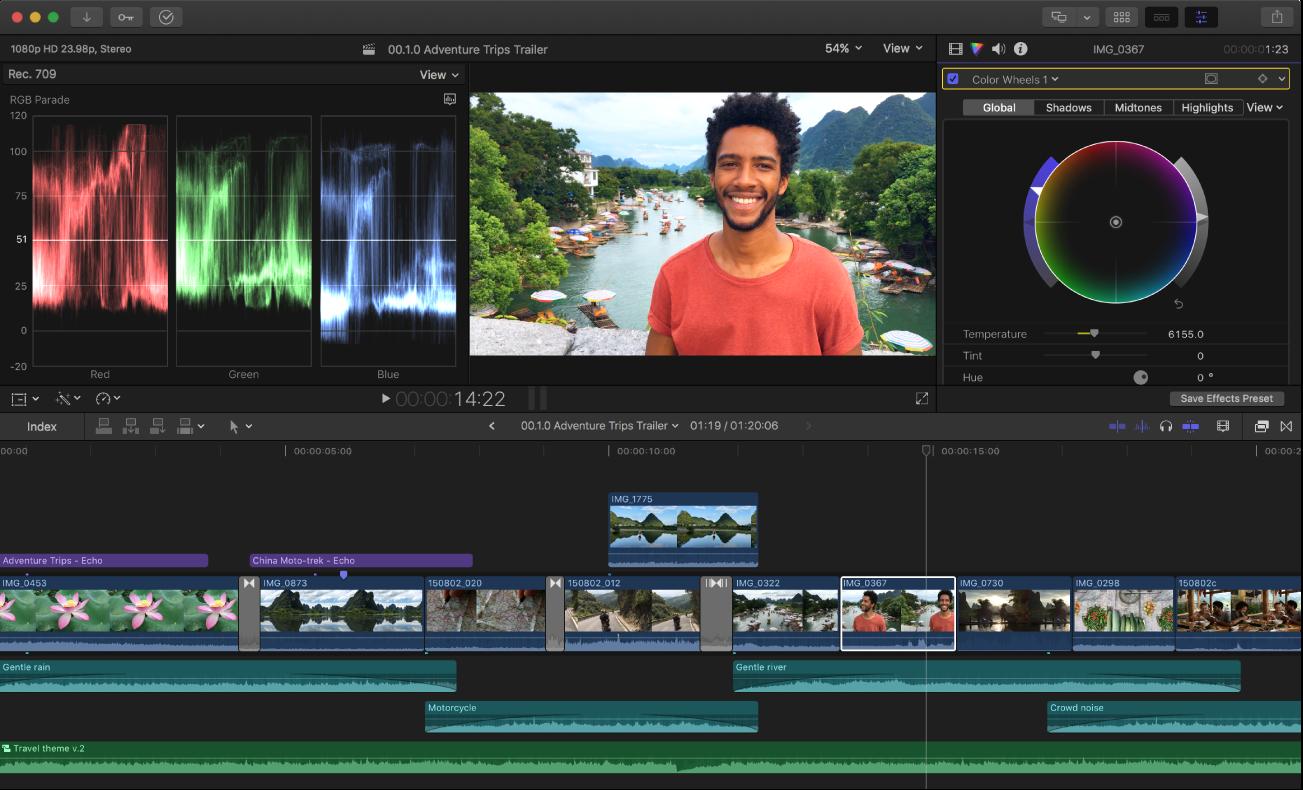 """Ein Videobild im Viewer mit dem Waveform-Monitor links und dem Informationsfenster """"Farbe"""" rechts mit den Farbrad-Steuerelementen"""