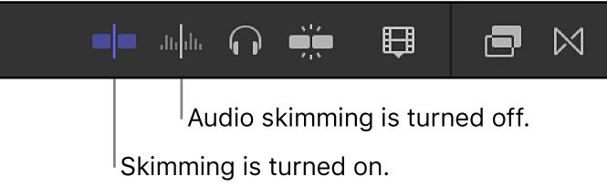 Die Tasten für Skimming und Audio-Skimming