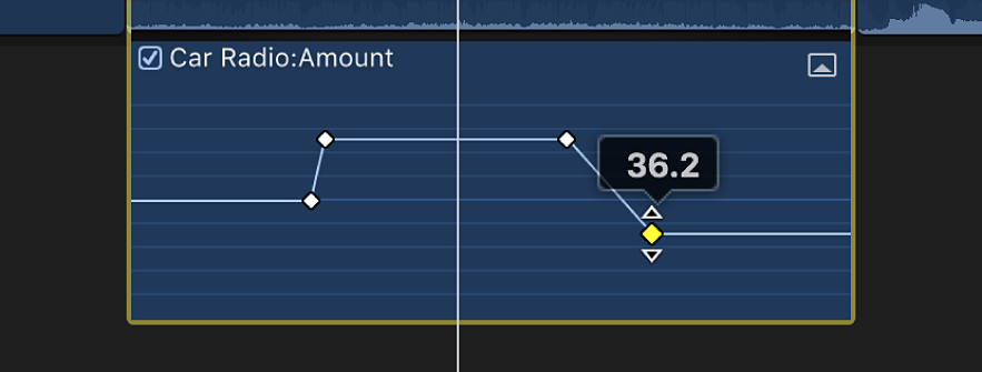 Ein Keyframe wird im Audioanimationseditor bewegt, um den Parameterwert zu verändern
