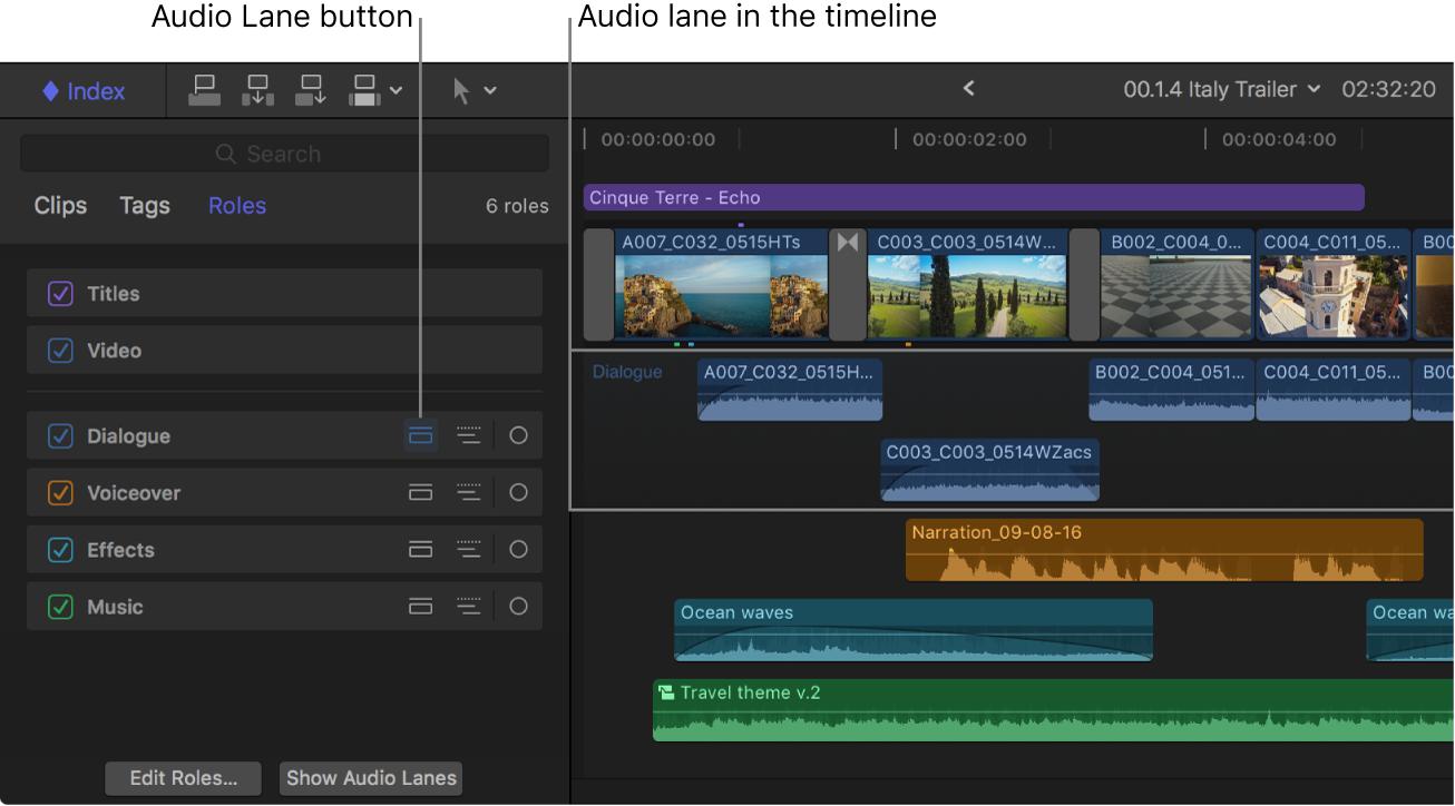 """Der Timeline-Index mit hervorgehobener Taste """"Audiobahn"""" für die Rolle """"Dialog"""" und die Timeline mit einer separaten Audiobahn für die Clips mit der Rolle """"Dialog"""""""