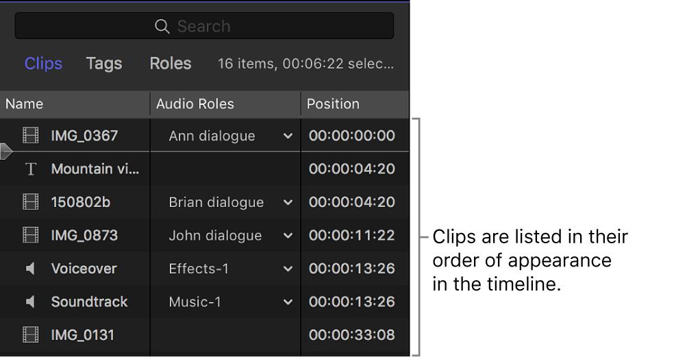 Im Timeline-Index aufgelistete Clips