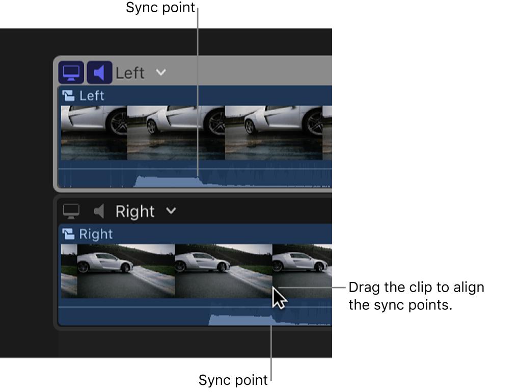Zwei Clips im Kamera-Editor. Einer wird bewegt, damit die Synchronisierungspunkte ausgerichtet sind.