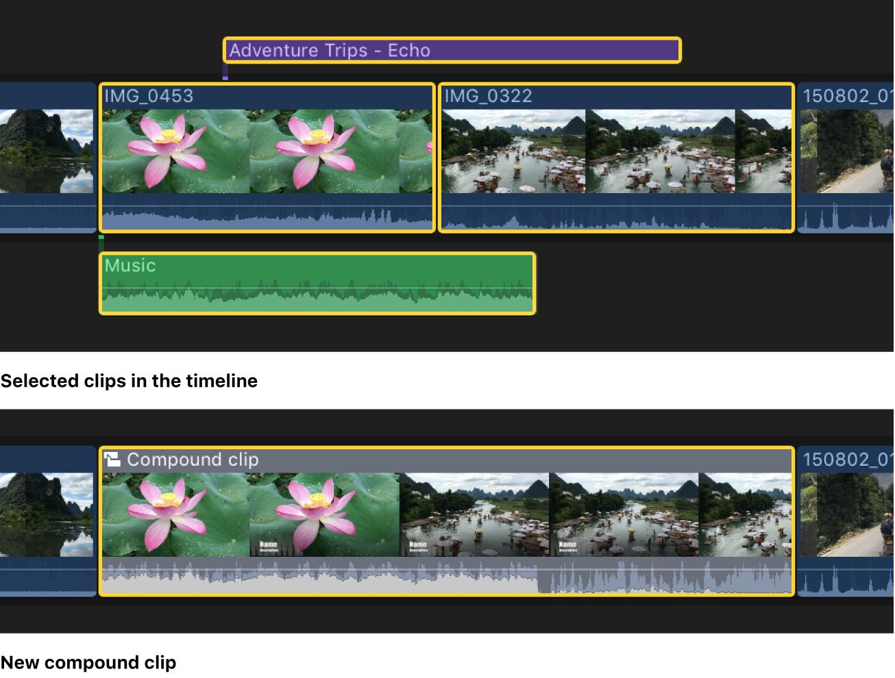 Ein Projekt in der Timeline vor und nach einer übersichtlicher Strukturierung mithilfe eines zusammengesetzten Clips