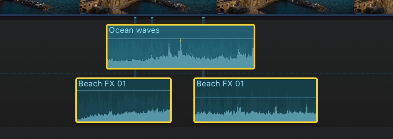Ausgewählte Audioclips in der Timeline