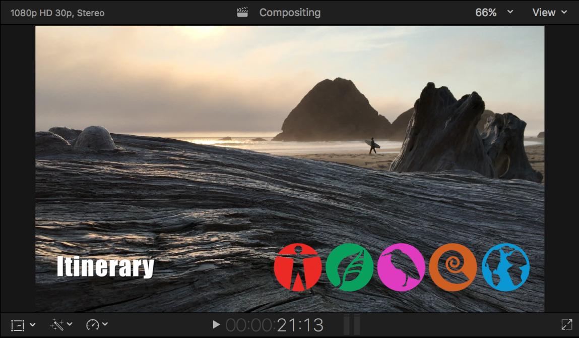 Der Viewer mit einem Clip mit dem Alpha-Kanal, der über einen Hintergrundclip gelegt wurde, und eine Reihe mit Symbolen auf dem Videohintergrund überlagert