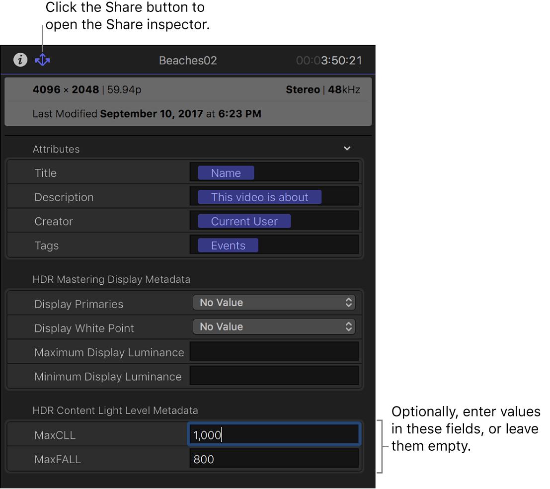 """Das Informationsfenster """"Teilen"""" mit Metadatenfeldern für """"Breiter Gamut HDR – Rec. 2020 PQ"""""""