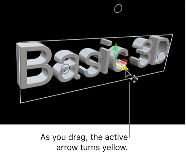 Ein 3D-Titel im Viewer, der vertikal entlang seiner Y-Achse bewegt wird