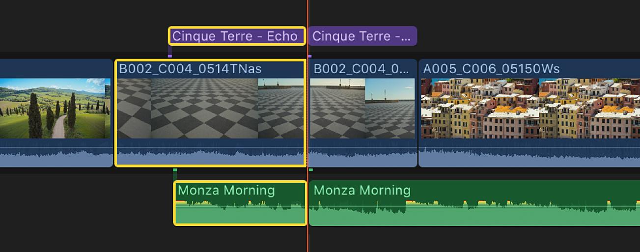 Eine neue Schnittmarke wird über mehrere Clips hinweg in der Timeline angezeigt