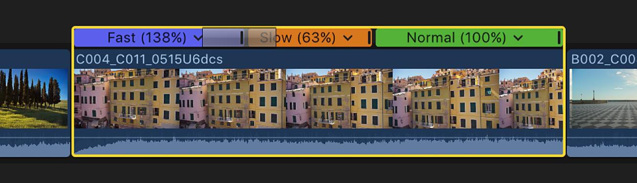 """Ein Clip mit drei Temposegmenten und einem Übergang """"Tempo"""" in der Timeline"""