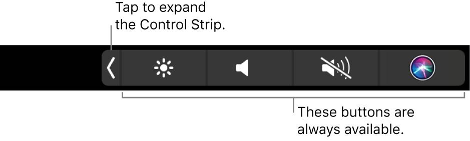 Die standardmäßigen Control Strip-Tasten auf der rechten Seite der Touch Bar