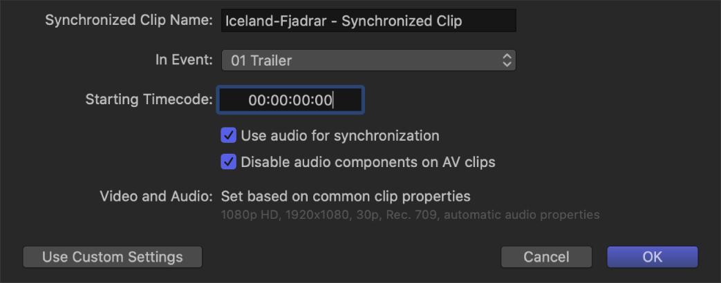 Die automatischen Einstellungen zum Synchronisieren von Clips