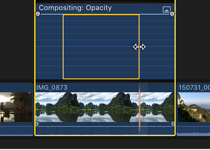 """Die Auswahl eines Bereichs mit dem Werkzeug """"Bereichsauswahl"""" im Videoanimations-Editor"""