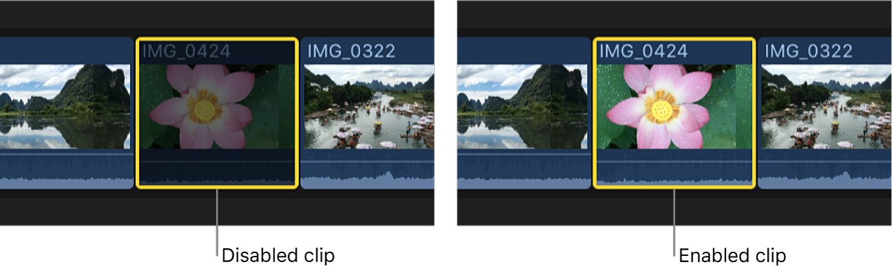 The same clip shown disabled and enabled in the timeline