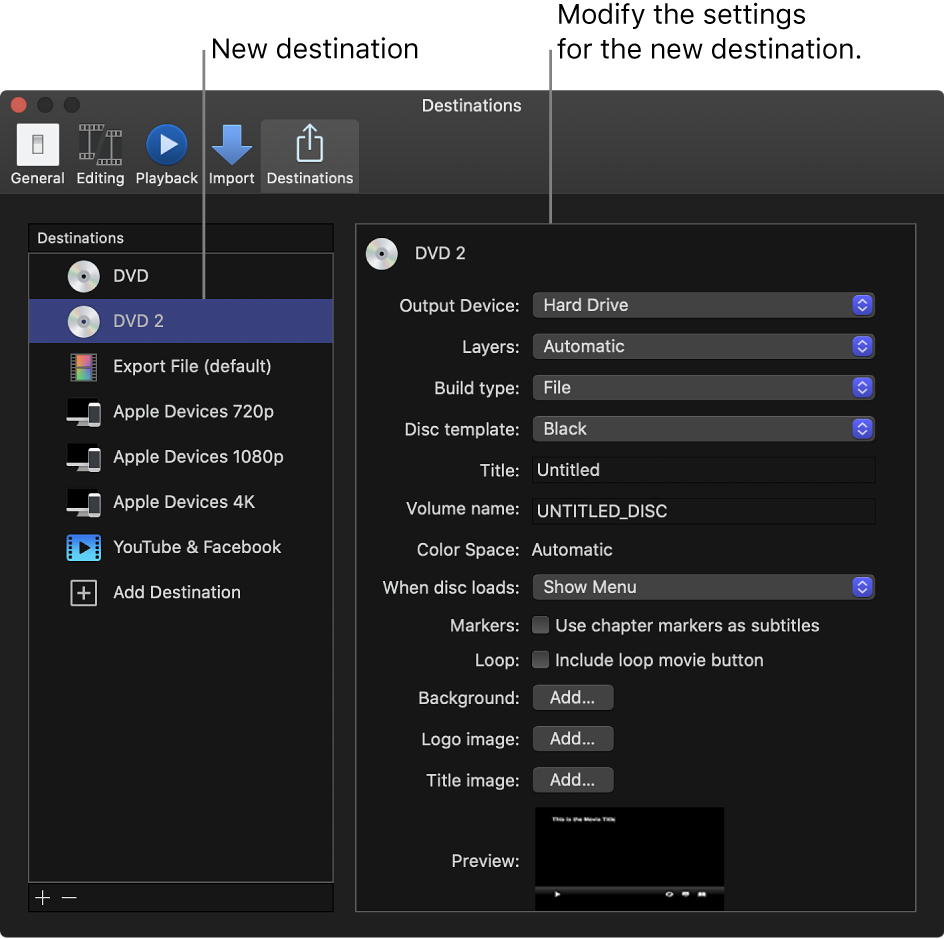 The Destinations pane of the Preferences window showing a duplicated DVD destination selected in the list on the left