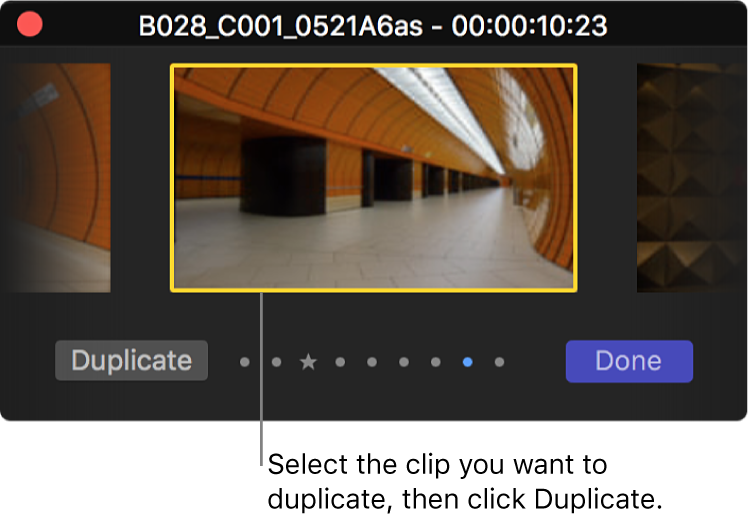 The Audition window showing the selected clip and the Duplicate button