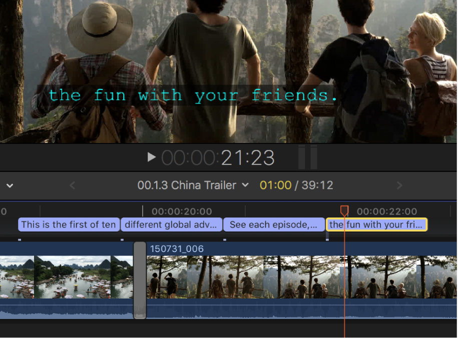A single-line caption in the viewer, and four abutting single-line captions in the timeline