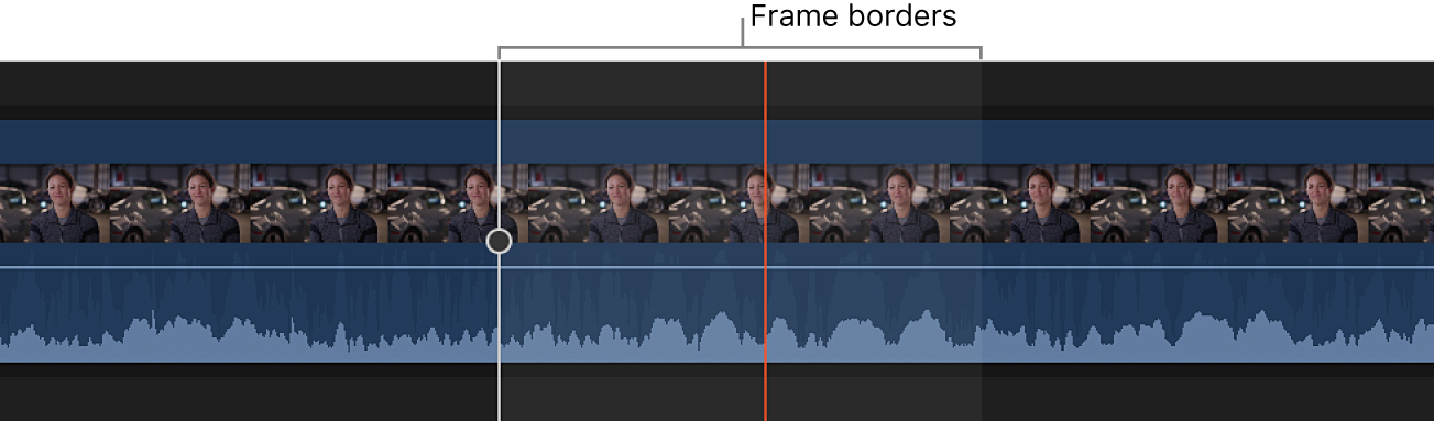 An audio waveform shown zoomed in to the sample level