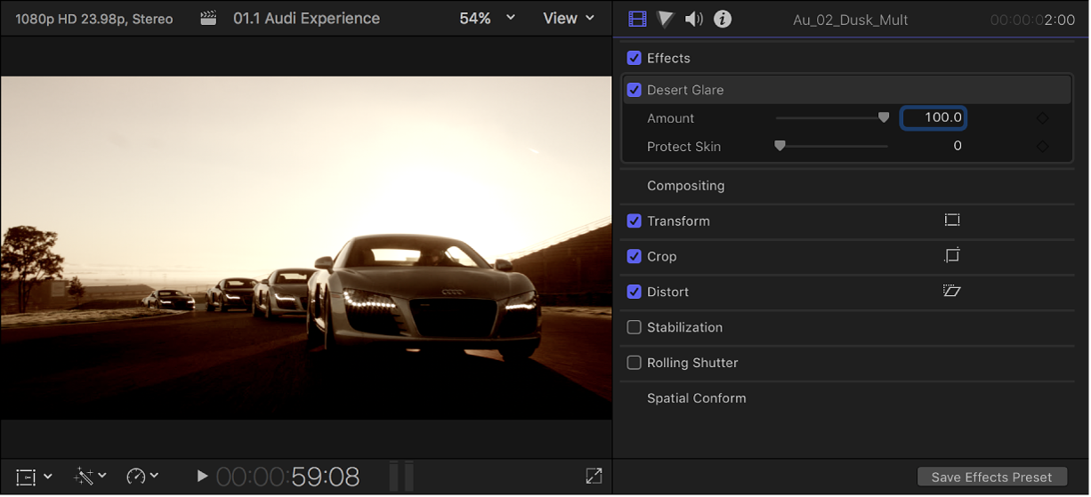 The viewer on the left showing a clip with a video effect applied, and the Video inspector open on the right