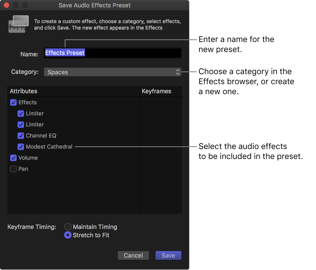 The Save Audio Effects Preset window