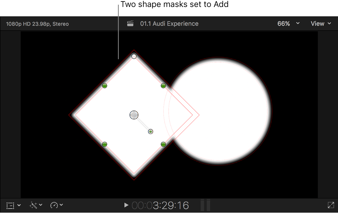 The viewer showing two overlapping white shapes on a black background