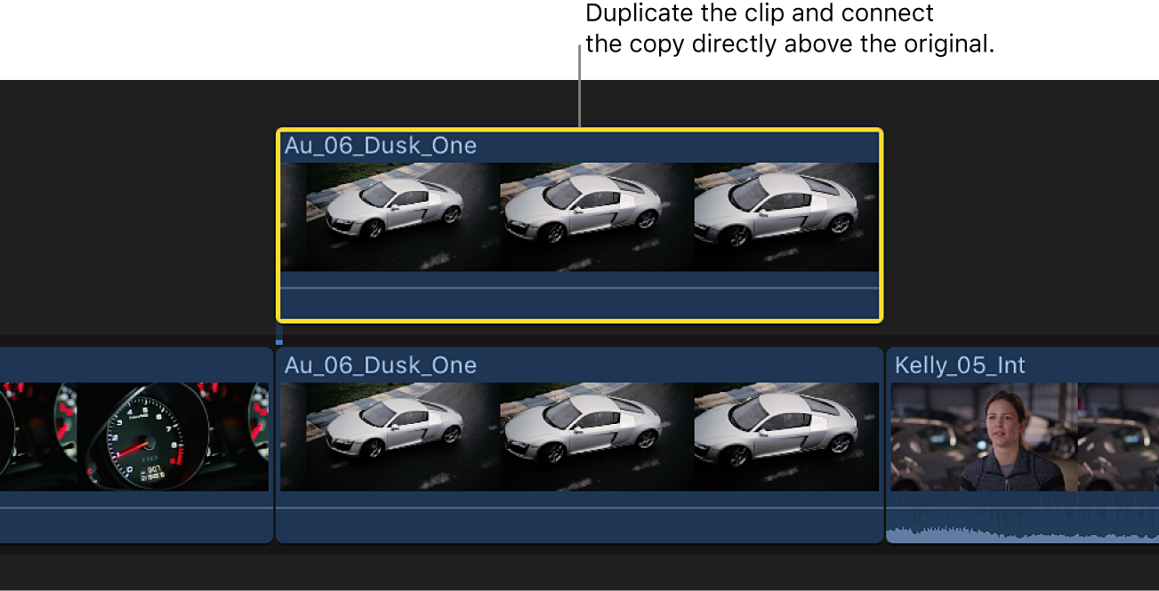 The timeline showing a clip in the primary storyline and a duplicate clip directly above it, connected to the original clip