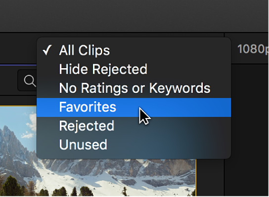 Options in the Filter pop-up menu