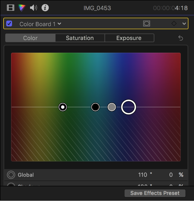 The Color inspector showing controls in the Color pane of the Color Board