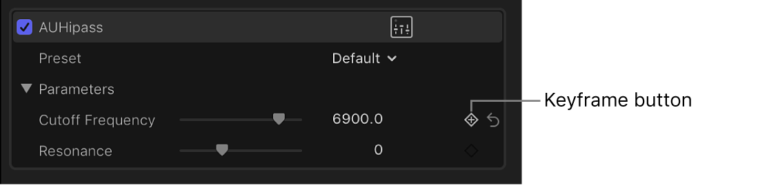 The Keyframe button for an effect in the Audio inspector