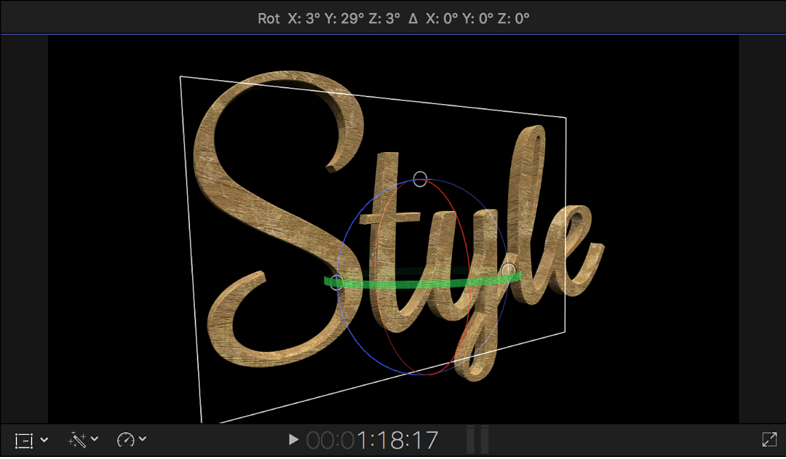 A 3D title in the viewer, rotated in 3D space to show a side view