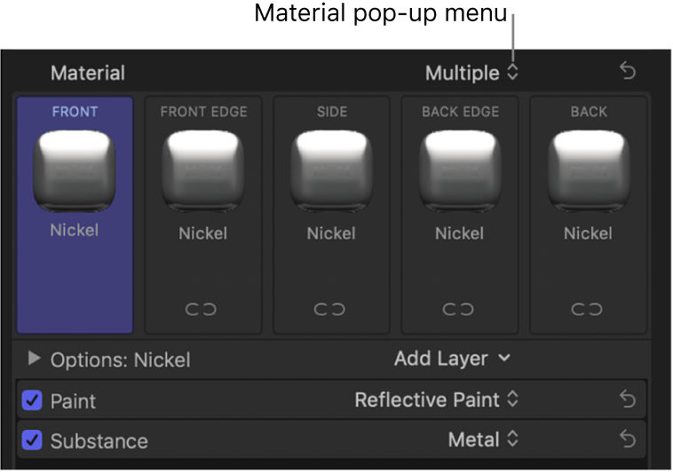 The Material section of the Text inspector showing preview thumbnails for the front, front edge, side, back edge, and back facets
