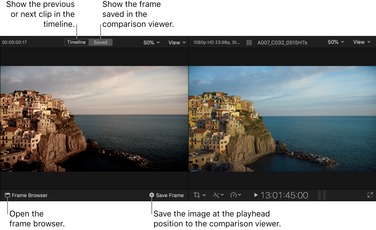 The comparison viewer shown in Saved mode to the left of the viewer, with the Timeline and Saved buttons at the top, the Frame Browser button in the lower left, and the Save Frame button in the lower right