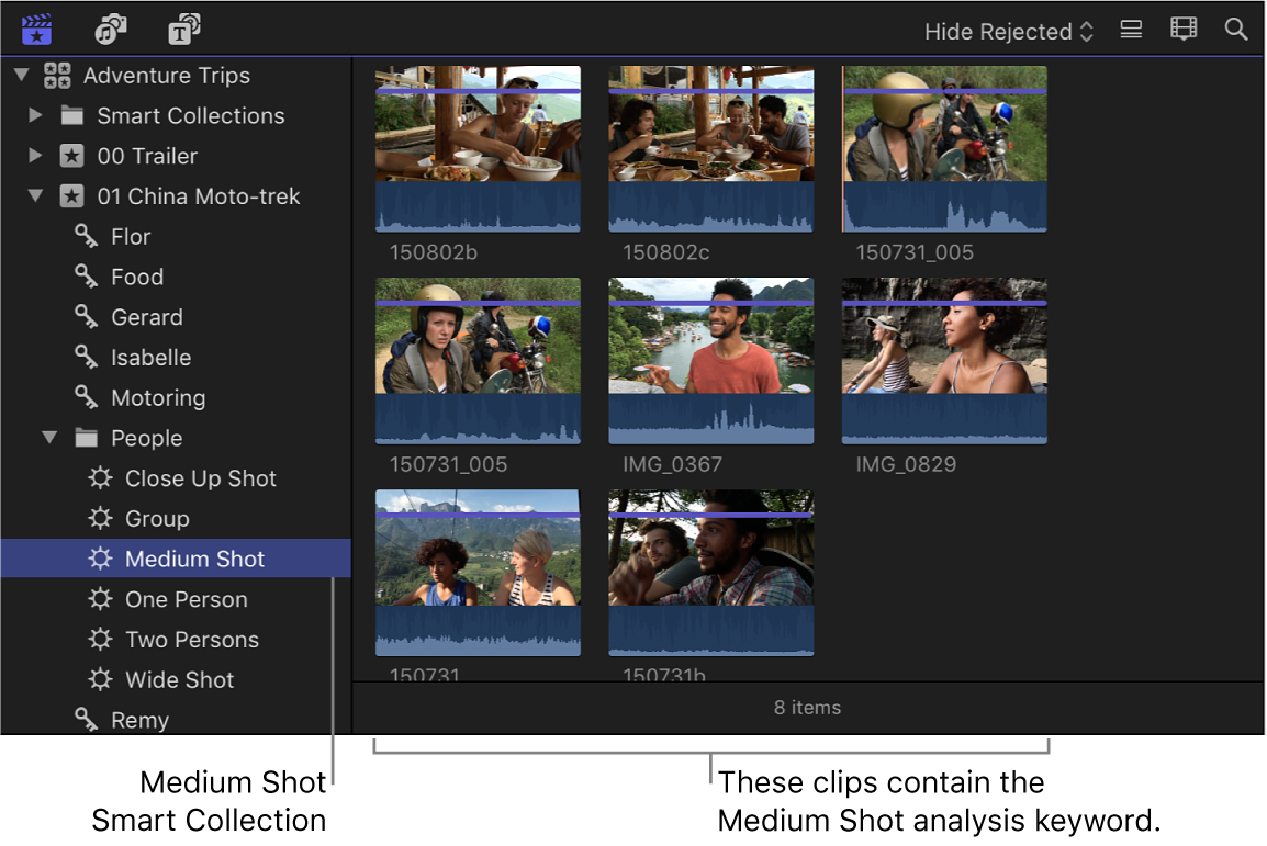 The browser displaying clips in the selected analysis keyword Smart Collection