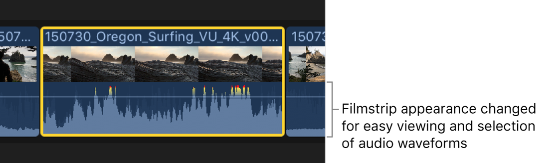 A filmstrip shown expanded in the timeline