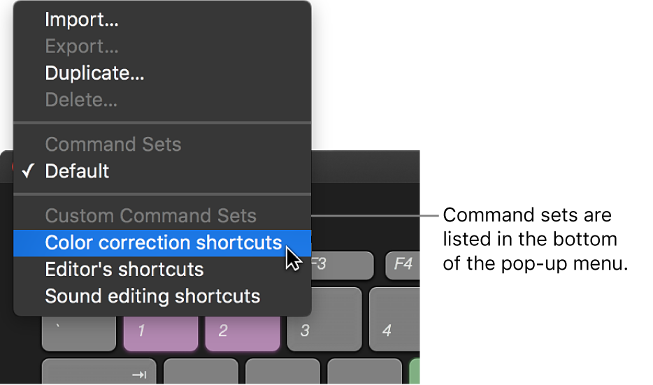Menu options for switching command sets