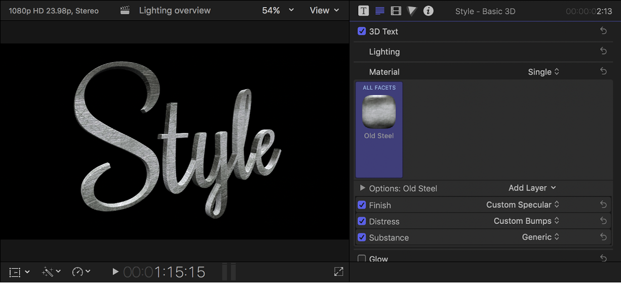 A 3D title in the viewer, with preset material settings shown in the Text inspector