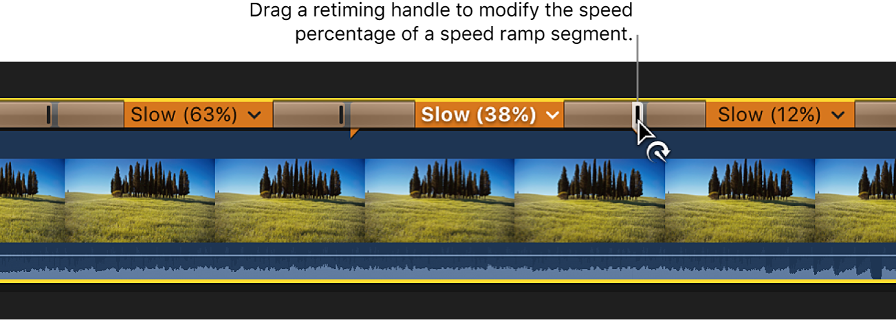 The timeline showing a clip with three speed segments set to different speeds