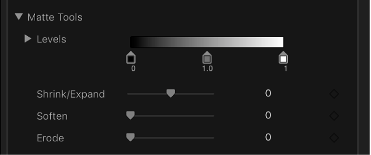 The Matte Tools controls in the Video inspector