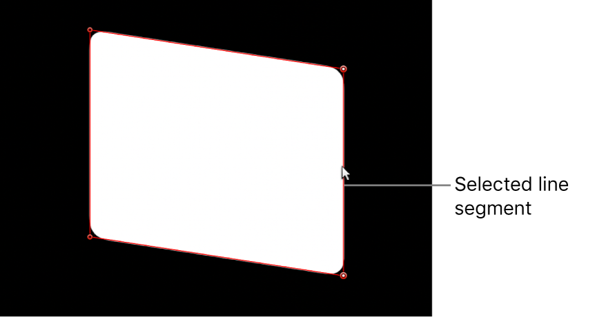 The viewer showing a line segment on one side of a mask shape being adjusted