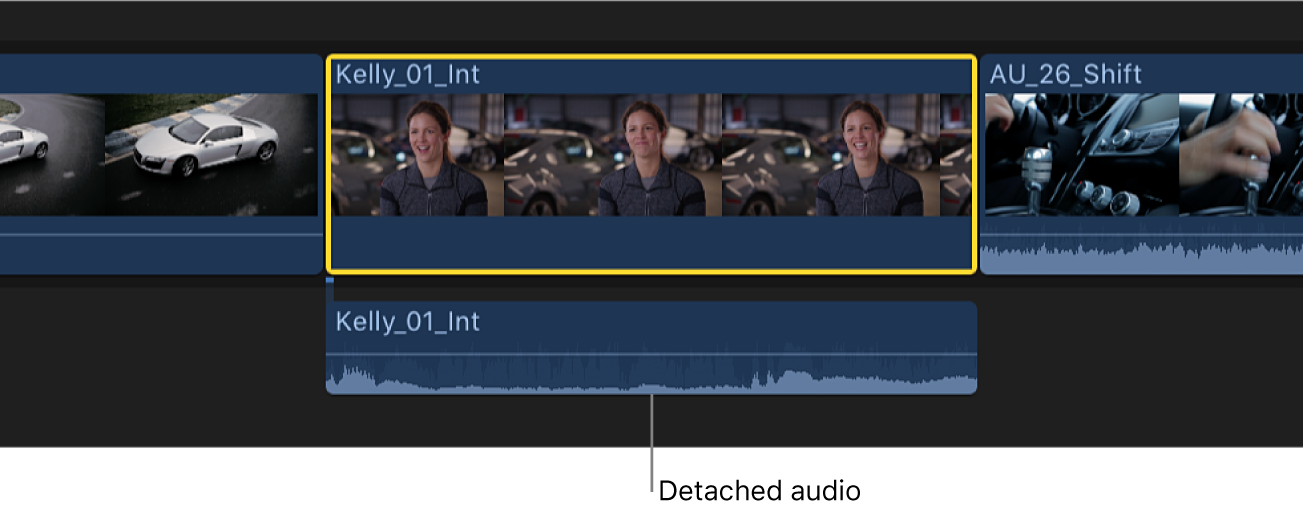A clip in the timeline with the audio portion detached but still connected to the video portion